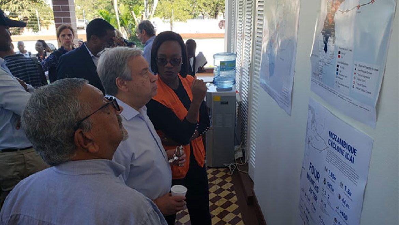 Secretário Geral da ONU, António Guterres, visitou o País para inteirar-se do impacto dos Ciclones IDAI & KENNETH